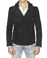 DSquared² | Blue Padded Canvas Pea Coat Jacket for Men | Lyst