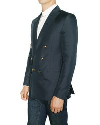 DSquared² - Blue Silk Cotton Double Breasted Jacket for Men - Lyst