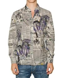 John Galliano | White Gazette Printed Cotton Canvas Shirt for Men | Lyst