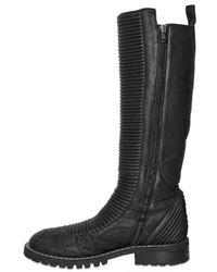 Gareth Pugh - Black Ribbed Padded Lambskin Boots for Men - Lyst
