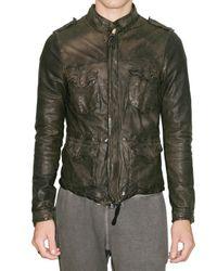 Giorgio Brato | Green Lambskin Short Sahariana Leather Jacket for Men | Lyst