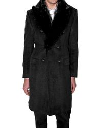 John Richmond - Black Beaver Fur Collar Flannel Coat for Men - Lyst