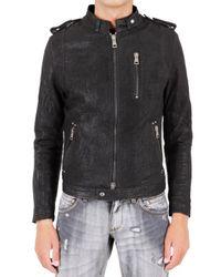 Meatpacking D | Black Biker Embossed Calf Leather Jacket for Men | Lyst