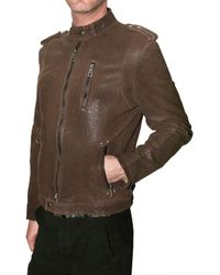 Meatpacking D - Brown Biker Embossed Calf Leather Jacket for Men - Lyst