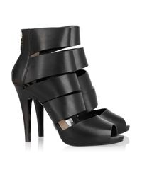 Michael Kors | Black Strappy Leather Back-zip Sandals | Lyst