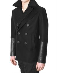 Neil Barrett | Black Leather and Virgin Wool Pea Coat for Men | Lyst