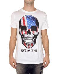 Philipp Plein | White Usa Svarowski Skull Jersey T-shirt for Men | Lyst