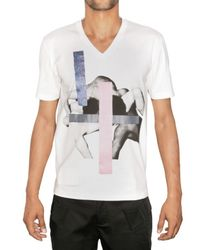 Raf Simons | White Fabric Application Jersey T-shirt for Men | Lyst