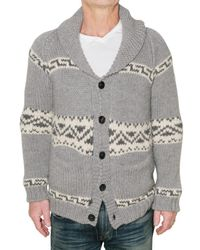 Roberto Collina | Gray Jacquard Knit Cardigan Sweater for Men | Lyst