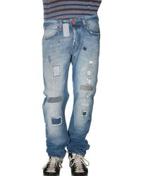 Seal Kay | Blue Destroyed Patch Denim Jeans for Men | Lyst