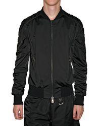 Tom Rebl | Black Stretch Satin Bomber Jacket for Men | Lyst