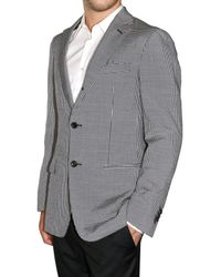 Z Zegna Gray Seersucker Stretch Wool and Sil Jacket for men