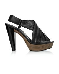 DKNY Black Laila Ruched Leather Sandals