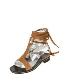 Ferragamo - Brown 10mm Suede Gladiator Sandals - Lyst