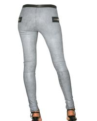 Les Chiffoniers - Gray Stretch Distressed Leather Leggings - Lyst