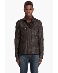 DIESEL | Brown Treated Leather Jacket for Men | Lyst