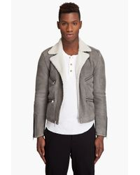 Marc Jacobs   Gray Shearling Motorcycle Jacket for Men   Lyst