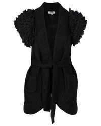 Tibi | Black Loop Stitch Long Sweater Cardigan | Lyst