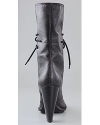 7 For All Mankind Black Everly Lace Up Boots