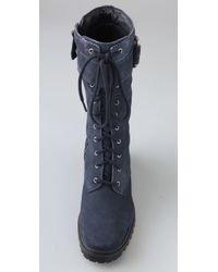7 For All Mankind Blue Gingerly Suede Combat Boots