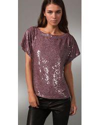 Alice + Olivia Purple Keren Sequined Silk Top