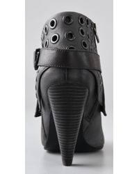 Ash - Gray Iona Grommet-embellished Leather Ankle Boots - Lyst