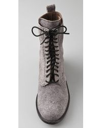 Becca Moon - Gray Suede Combat Boots with Elastic Laces - Lyst
