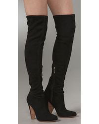 Belle By Sigerson Morrison | Black Stretch Suede Over The Knee Boots | Lyst