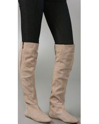 Charles David Natural Upbeat Suede Over The Knee Boots