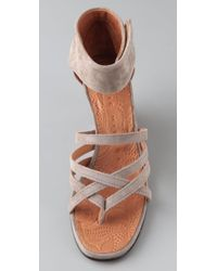 Chie Mihara Natural Romero Suede Wedge Sandals