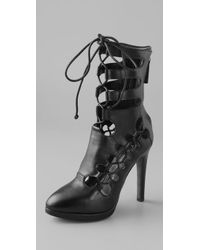 Christopher Kane Black Nappa Laced Boots