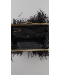 Club Monaco Black Ostrich Feather Clutch