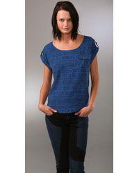 Dolce Vita | Blue Mudcloth Print Silk Top | Lyst
