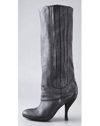 Elizabeth and James Black Mane Foldover Boots