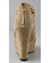 Elizabeth and James - Natural Honey Open Toe Wedge Booties - Lyst