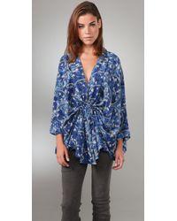 Elizabeth and James | Blue Greta Silk Kimono-style Blouse | Lyst
