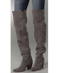 Elizabeth and James Gray Western Thigh High Suede Boots