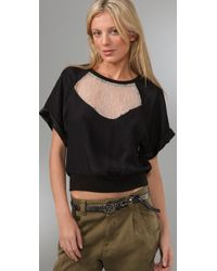 Elizabeth and James | Martha Lace Insert Silk Topblackcream | Lyst