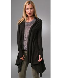Enza Costa - Gray Cotton Cashmere Shawl Cardigan with Thumbholes - Lyst