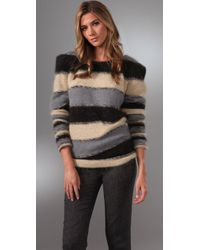 Foley + Corinna Black Striped Angora-blend Sweater