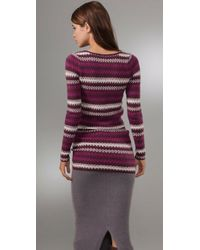 Free People | Purple Jagged Stripe Pullover Sweater | Lyst