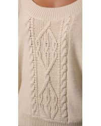 Free People - White Cable Tree Cropped Pullover - Lyst
