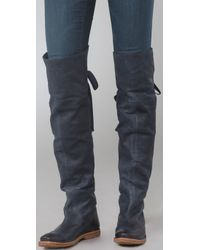 Frye Blue Navy Leather Celia Over-the-knee Folded Cuff Boots