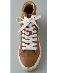 Frye Brown Kira High Top Sneakers