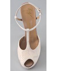 Giuseppe Zanotti Natural T Strap Platform Sandals