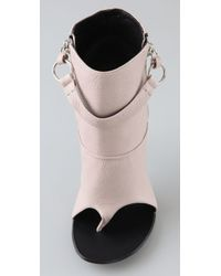 Giuseppe Zanotti Natural Open Toe Thong Booties