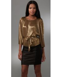Halston | Metallic Lamé-knit Top | Lyst