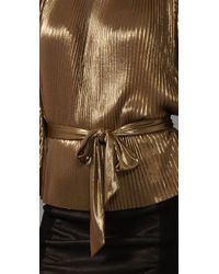 Halston Metallic Lamé-knit Top