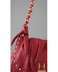 Halston Red Maria Studded Flap Shoulder Bag