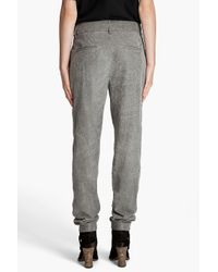 Helmut Lang   Gray Cracked Leather Pleated Pants   Lyst